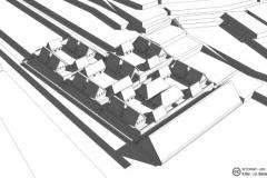 Propuesta de restitución virtual del conjunto del Cusicancha basado en los restos musealizados en el parque arqueológico urbano del mismo nombre.